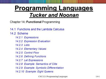 CSC321: Programming Languages14-1 Programming Languages Tucker and Noonan Chapter 14: Functional Programming 14.1 Functions and the Lambda Calculus 14.2.