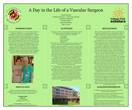A Day in the Life of a Vascular Surgeon Timothy Bunales College Park Scholars – Earth, Life, and Time University of Maryland Chemistry Major