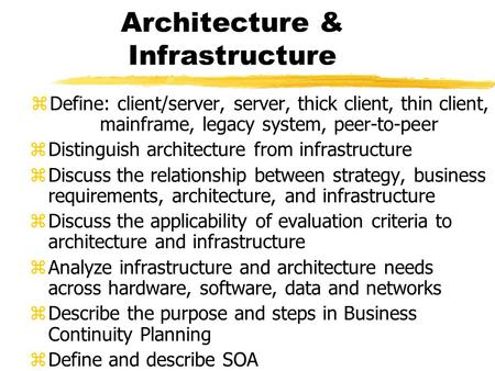 Architecture & Infrastructure