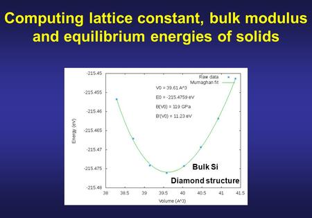 Computing lattice constant, bulk modulus and equilibrium energies of solids Bulk Si Diamond structure.