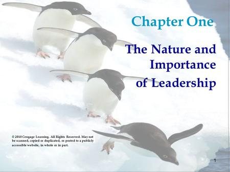 1 Chapter One The Nature and Importance of Leadership © 2010 Cengage Learning. All Rights Reserved. May not be scanned, copied or duplicated, or posted.