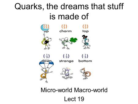 Quarks, the dreams that stuff is made of Micro-world Macro-world Lect 19.