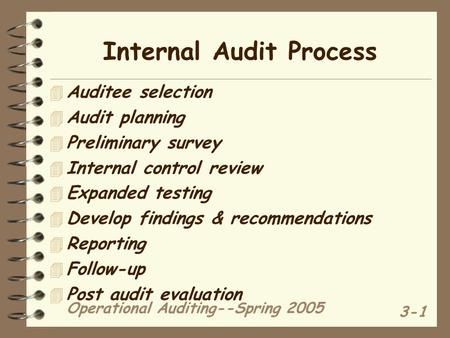 Operational Auditing--Spring 2005 3-1 Internal Audit Process 4 Auditee selection 4 Audit planning 4 Preliminary survey 4 Internal control review 4 Expanded.