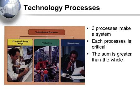 Technology Processes 3 processes make a system Each processes is critical The sum is greater than the whole.