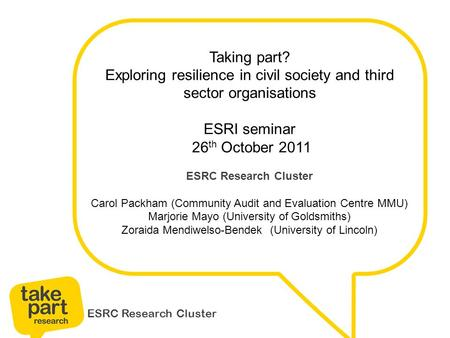 ESRC Research Cluster Taking part? Exploring resilience in civil society and third sector organisations ESRI seminar 26 th October 2011 ESRC Research Cluster.