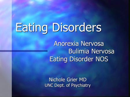 anorexia nervosa and bulimia nervosa an overview Eating disorders references natasha tracy print email eating disorders overview what are eating disorders eating disorder information 1 national institute of mental health 2 helpguideorg, anorexia nervosa.