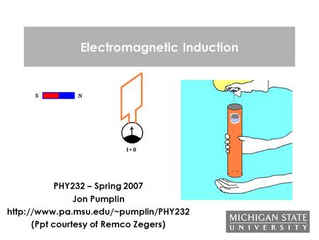 <strong>Electromagnetic</strong> Induction PHY232 – Spring 2007 Jon Pumplin (Ppt courtesy of Remco Zegers)