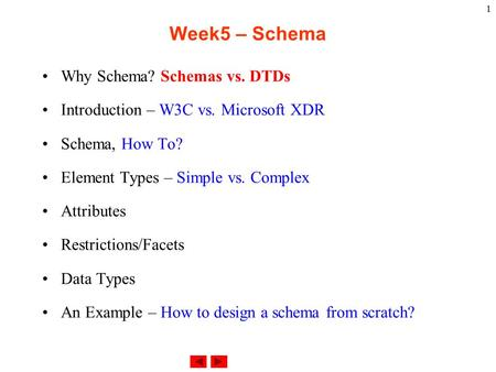 1 Week5 – Schema Why Schema? Schemas vs. DTDs Introduction – W3C vs. Microsoft XDR Schema, How To? Element Types – Simple vs. Complex Attributes Restrictions/Facets.