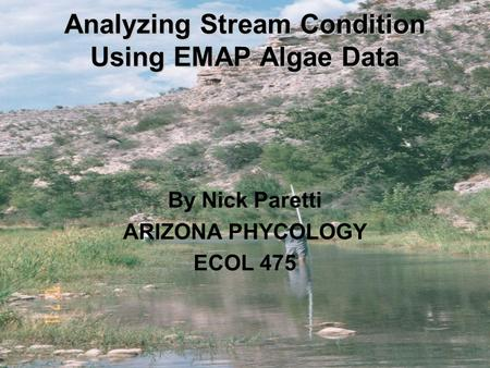 Analyzing Stream Condition Using EMAP Algae Data By Nick Paretti ARIZONA PHYCOLOGY ECOL 475.