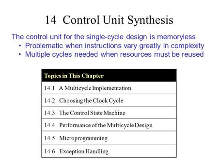 14 Control Unit Synthesis