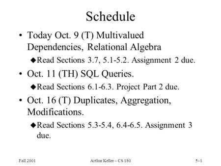 Fall 2001Arthur Keller – CS 1805–1 Schedule Today Oct. 9 (T) Multivalued Dependencies, Relational Algebra u Read Sections 3.7, 5.1-5.2. Assignment 2 due.