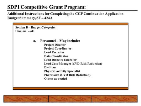 SDPI Competitive Grant Program SDPI Competitive Grant Program: Additional Instructions for Completing the CGP Continuation Application Budget Summary,
