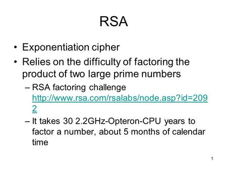 RSA Exponentiation cipher