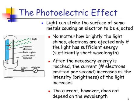 1 The Photoelectric Effect Light can strike the surface of some metals causing an electron to be ejected No matter how brightly the light shines, electrons.