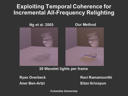 Exploiting Temporal Coherence for Incremental All-Frequency Relighting Ryan OverbeckRavi Ramamoorthi Aner Ben-ArtziEitan Grinspun Columbia University Ng.