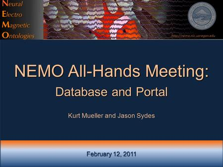 February 12, 2011 NEMO All-Hands Meeting: Database and Portal Kurt Mueller and Jason Sydes
