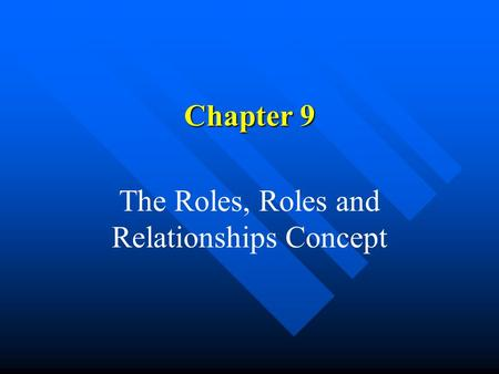 Chapter 9 The Roles, Roles and Relationships Concept.