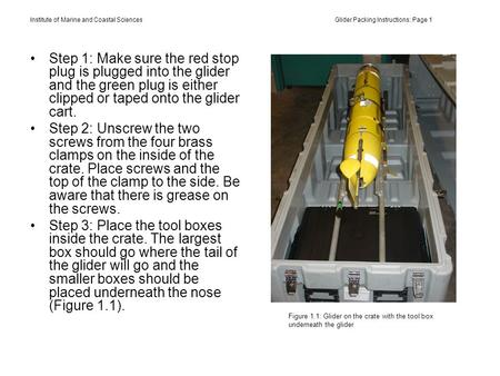 Institute of Marine and Coastal Sciences Glider Packing Instructions: Page 1 Step 1: Make sure the red stop plug is plugged into the glider and the green.