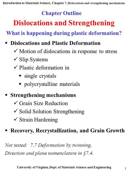 Dislocations and Strengthening