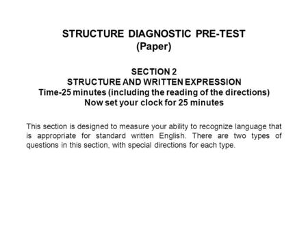 STRUCTURE DIAGNOSTIC PRE-TEST (Paper)