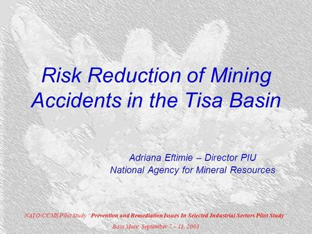 "Risk Reduction of Mining Accidents in the Tisa Basin Adriana Eftimie – Director PIU National Agency for Mineral Resources NATO/CCMS Pilot Study ""Prevention."