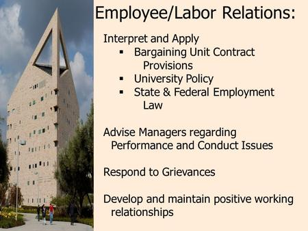 Interpret and Apply  Bargaining Unit Contract Provisions  University Policy  State & Federal Employment Law Advise Managers regarding Performance and.