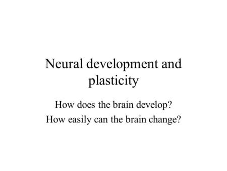 Neural development and plasticity How does the brain develop? How easily can the brain change?