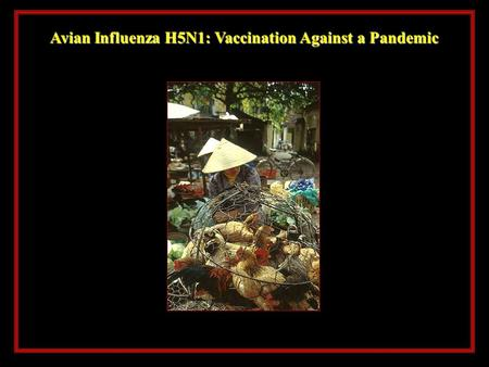 Avian Influenza H5N1: Vaccination Against a Pandemic.