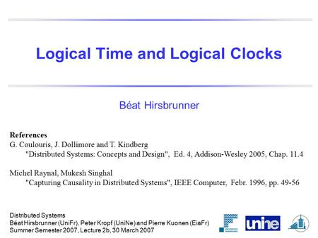 Logical Time and Logical Clocks