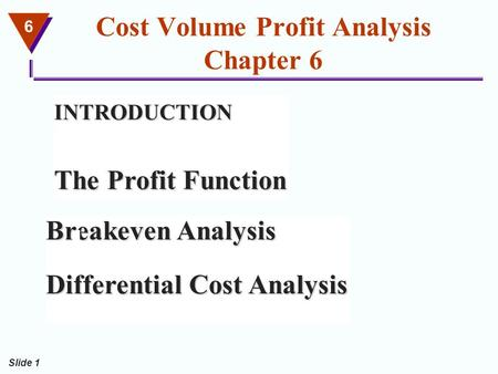 6 Slide 1 Cost Volume Profit Analysis Chapter 6 INTRODUCTION The Profit Function Breakeven Analysis Differential Cost Analysis.