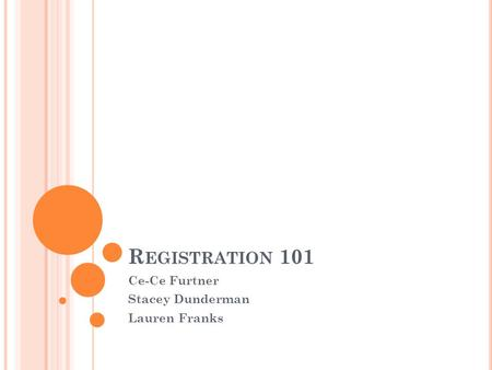 R EGISTRATION 101 Ce-Ce Furtner Stacey Dunderman Lauren Franks.