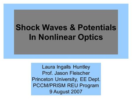 Shock Waves & Potentials