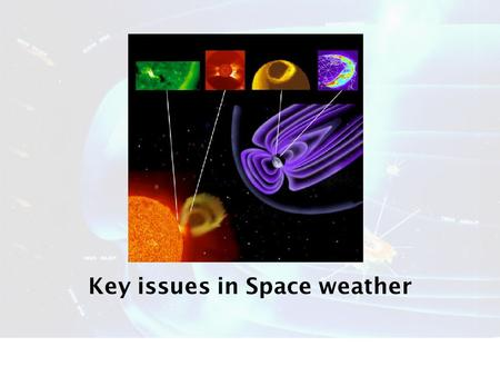 Key issues in Space weather. STRUCTURE 1.What is space weather 2.Issues for a.Upper atmosphere effects b.Charged particle environments c.Humans in Space.
