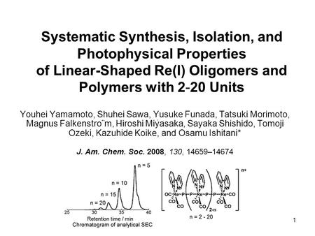 1 Systematic Synthesis, Isolation, and Photophysical Properties of Linear-Shaped Re(I) Oligomers and Polymers with 2-20 Units Youhei Yamamoto, Shuhei Sawa,
