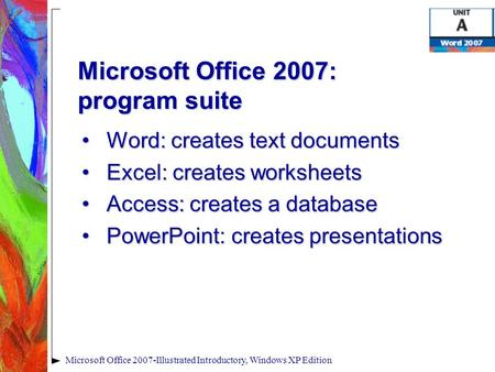 Microsoft Office 2007-Illustrated Introductory, Windows XP Edition Microsoft Office 2007: program suite Word: creates text documentsWord: creates text.