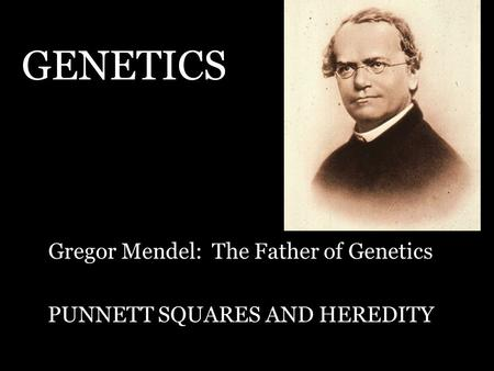 GENETICS Gregor Mendel: The Father of Genetics PUNNETT SQUARES AND HEREDITY.
