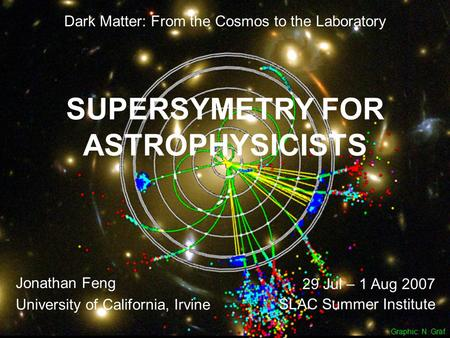 30 Jul – 1 Aug 07Feng 1 SUPERSYMETRY FOR ASTROPHYSICISTS Jonathan Feng University of California, Irvine 29 Jul – 1 Aug 2007 SLAC Summer Institute Graphic: