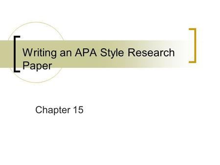 Research paper cite chapter