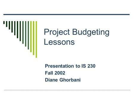 Project Budgeting Lessons Presentation to IS 230 Fall 2002 Diane Ghorbani.