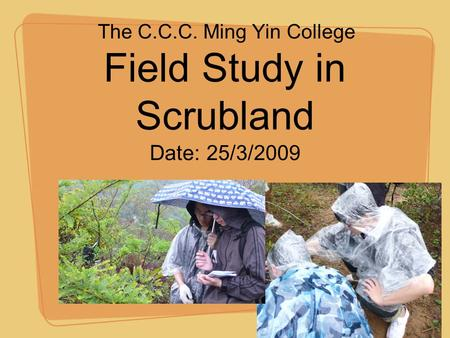 Field Study in Scrubland The C.C.C. Ming Yin College Date: 25/3/2009.