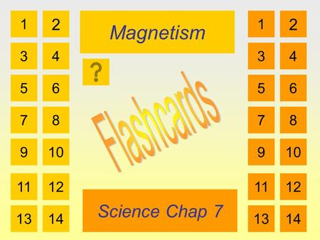 Magnetism Science Chap 7 1 3 2 4 5 7 6 8 910 1112 1314 1 3 2 4 5 7 6 8 910 1112 1314.