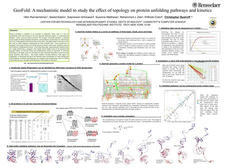 GeoFold: A mechanistic model to study the effect of topology on protein unfolding pathways and kinetics Vibin Ramakrishnan *, Saeed Salem ‡, Saipraveen.