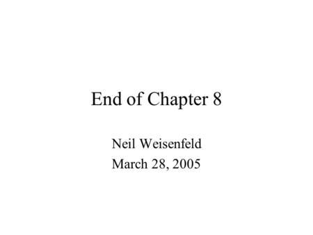 End of Chapter 8 Neil Weisenfeld March 28, 2005. Outline 8.6 MCMC for Sampling from the Posterior 8.7 Bagging –8.7.1 Examples: Trees with Simulated Data.
