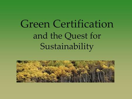 Green Certification and the Quest for Sustainability.