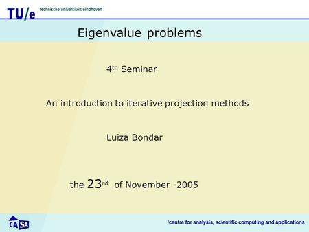 An introduction to iterative projection methods Eigenvalue problems Luiza Bondar the 23 rd of November -2005 4 th Seminar.