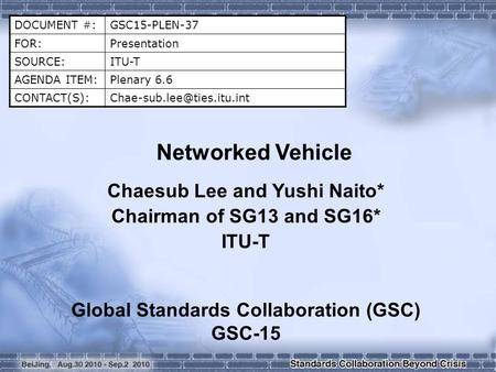 DOCUMENT #:GSC15-PLEN-37 FOR:Presentation SOURCE:ITU-T AGENDA ITEM:Plenary 6.6 Networked Vehicle Chaesub Lee and Yushi.