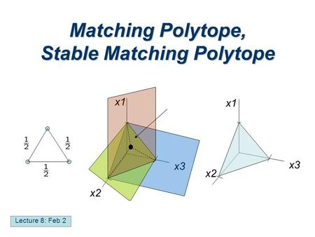 Matching Polytope, Stable Matching Polytope Lecture 8: Feb 2 x1 x2 x3 x1 x2 x3.