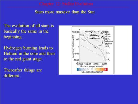 Chapter 12: Stellar Evolution Stars more massive than the Sun The evolution of all stars is basically the same in the beginning. Hydrogen burning leads.