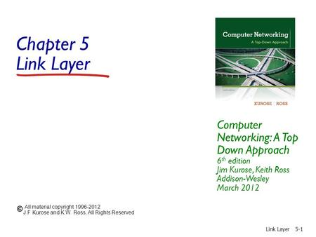 Chapter 5 Link <strong>Layer</strong> Computer Networking: A Top Down Approach 6 th edition Jim Kurose, Keith Ross Addison-Wesley March 2012 All material copyright 1996-2012.