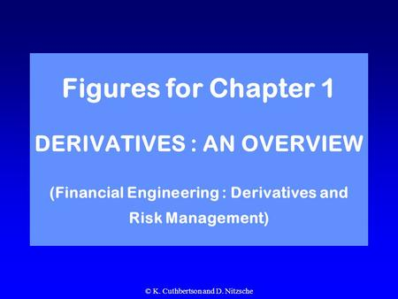 © K. Cuthbertson and D. Nitzsche Figures for Chapter 1 DERIVATIVES : AN OVERVIEW (Financial Engineering : Derivatives and Risk Management)